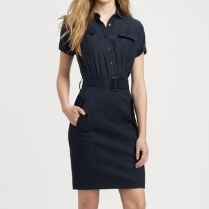 Burberry Navy Military Belted Dress